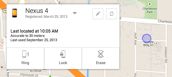 Track lost Android Phone using Android Device Manager